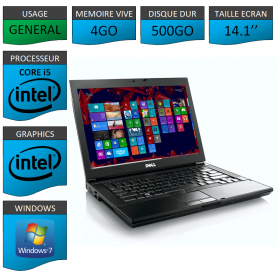 Portable Dell Intel Core i5 4 Coeurs 4Go 500Go Windows 7 Pro 32 bits