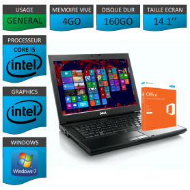 Portable Dell Intel Core i5 4 Coeurs 4Go OFFICE 2013 Windows 7 Pro 32 bits