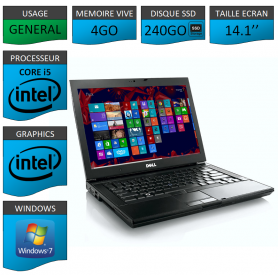Portable Dell Intel Core i5 4 Coeurs 4Go 240SSD Windows 7 Pro 32 bits
