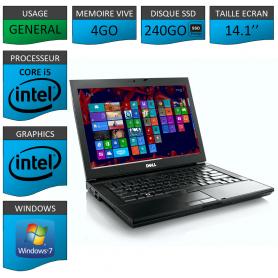 Portable Dell Intel Core i5 4 Coeurs 4Go 240SSD Windows 7 Pro 32 bits