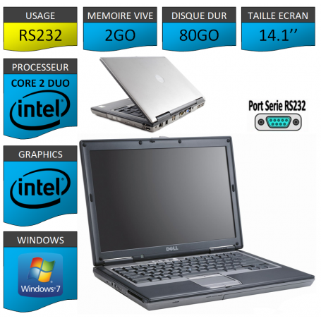 DELL LATITUDE PORT SERIE RS232 NATIF Windows 7 Pro 32Bits - 2Go 80Go