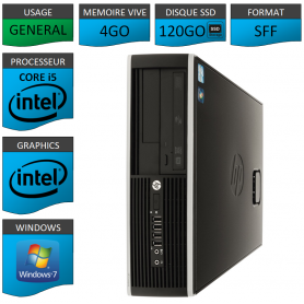 PC HP Core i5 4Go 120Go SSD Windows 7 Pro
