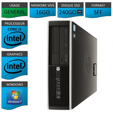PC HP 8100 Core i5 16Go 240Go SSD Windows 7 Pro