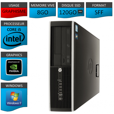 PC HP Core i5 8Go 120Go SSD Windows 7 Pro HDMI
