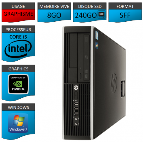 PC HP Core i5 8Go 240Go SSD Windows 7 Pro HDMI