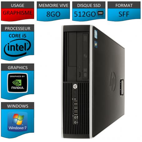 PC HP Core i5 8Go 512Go SSD Windows 7 Pro HDMI