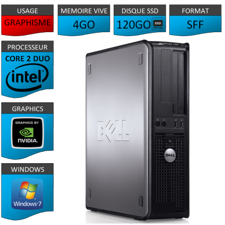 PROMO PC DELL 4GO 120SSD WINDOWS 7 PRO 64 bits HDMI