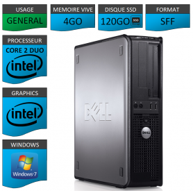 Dell optiplex 780 SSD 120Go Windows 7 pro 64 bits