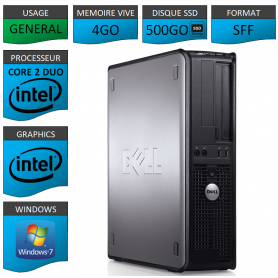 PROMO PC DELL 4GO 500SSD WINDOWS 7 PRO 64 bits