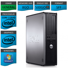 PROMO PC DELL 8GO 500SSD WINDOWS 7 PRO 64 bits