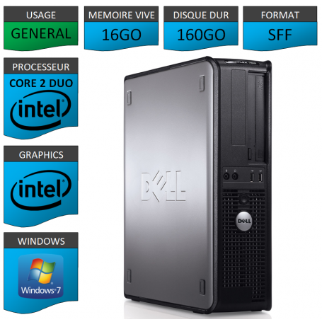 PC DELL OPTIPLEX 16GO 160GO WINDOWS 7 PRO 64 bits