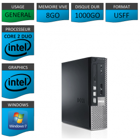 PC DELL USFF 8Go 1000Go WINDOWS 7 PRO 64 bits Très Faible Encombrement