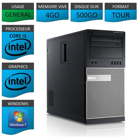 Dell Optiplex 790 Core i3 4go 500Go Windows 7 Pro