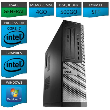 Dell Optiplex 990 Core i7 4go 500Go Windows 7 Pro