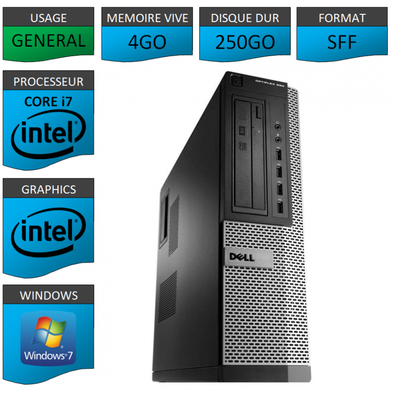 Dell Optiplex 990 Core i7 4go 250Go Windows 7 Pro