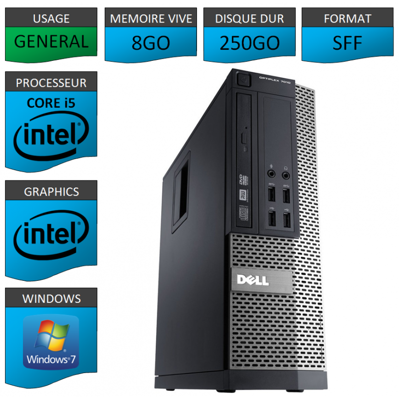 Dell 7010 Core i5 8Go 250Go Windows 7 Pro