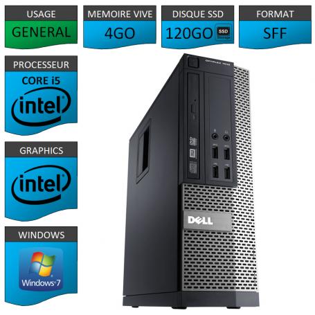 Dell 7010 Core i5 4Go 120SSD Windows 7 Pro