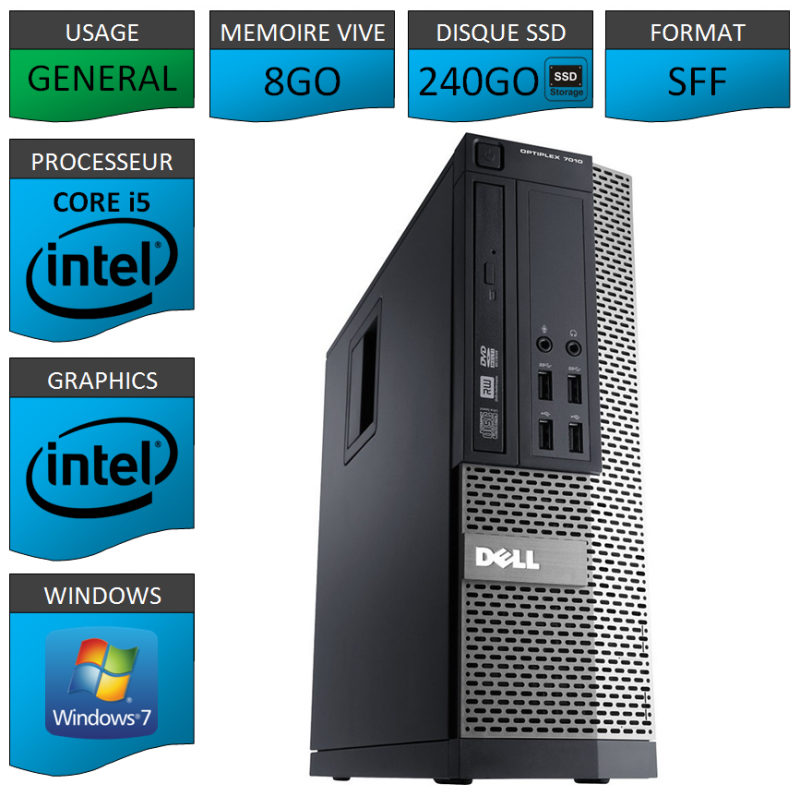 Dell Optiplex 7010 SFF Core i5 8Go 240SSD Windows 7 Pro