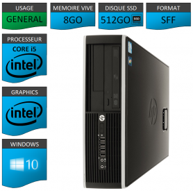 PC HP Core i5 8Go 525Go SSD Windows 10 Pro