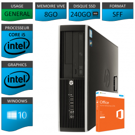 PC HP Core i5 8Go 240Go SSD OFFICE BUSINESS 2010 Windows 10 Pro