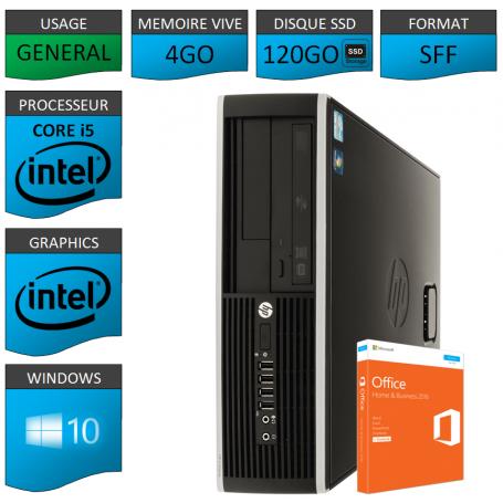 PC HP Core i5 4Go 120Go SSD OFFICE 2013 Windows 10 Pro