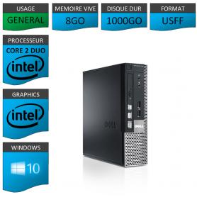 PC DELL USFF 8Go 1000Go WINDOWS 10 PRO 64 bits Très Faible Encombrement
