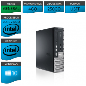 PC DELL USFF 4Go 250Go WINDOWS 10 PRO 64 bits Très Faible Encombrement