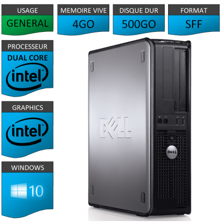 PC DELL OPTIPLEX 4GO 500GO WINDOWS 10 PRO 64 bits