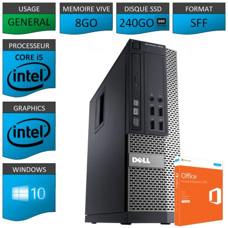 Dell 7010 Core i5 8Go 240SSD Windows 10 Pro et Office Business 2013