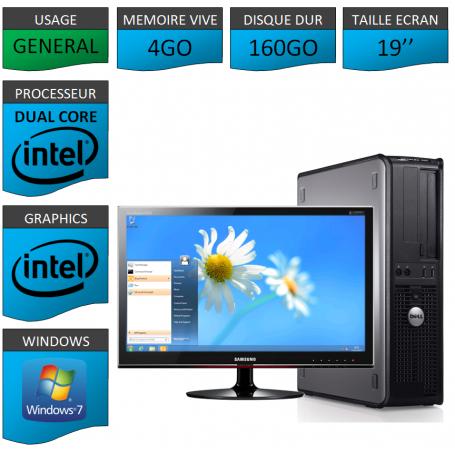 PC DELL OPTIPLEX 4GO 160GO WINDOWS 7 PRO 64 bits Ecran 19