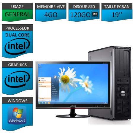 PROMO PC DELL 4GO 120SSD WINDOWS 7 PRO 64 bits Ecran 19