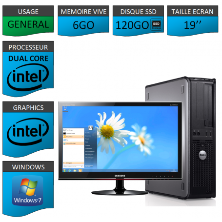 PROMO PC DELL 6GO 120SSD WINDOWS 7 PRO 64 bits Ecran 19