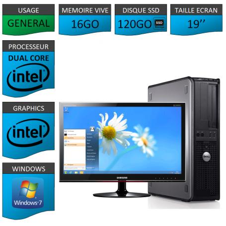 PROMO PC DELL 16GO 120SSD WINDOWS 7 PRO 64 bits Ecran 19