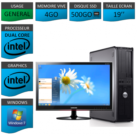 PROMO PC DELL 4GO 500SSD WINDOWS 7 PRO 64 bits Ecran 19