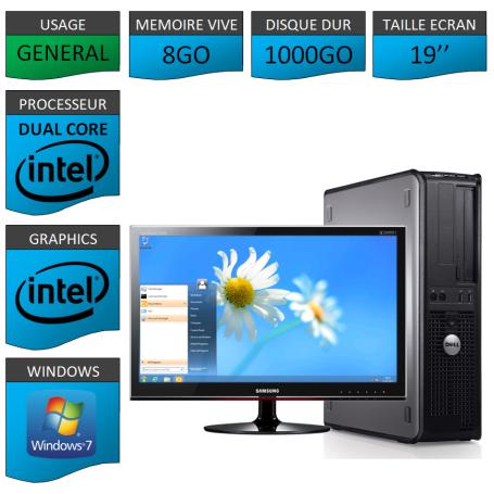 PC DELL OPTIPLEX 8GO 1000GO WINDOWS 7 PRO 64 bits Ecran 19