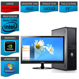 PC DELL OPTIPLEX 4GO 160GO WINDOWS 7 PRO 64 bits Ecran 19 HDMI