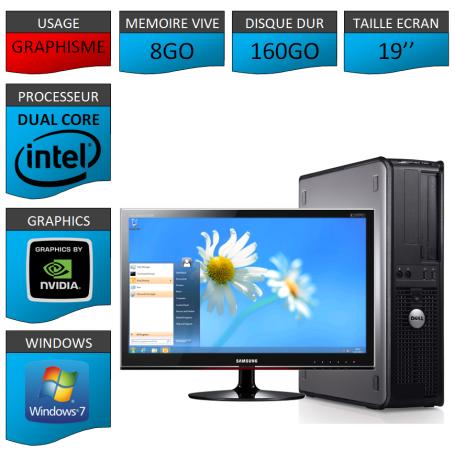 """PC DELL """"CYBORG"""" 8GO MEMOIRE WINDOWS 7 PRO 64 bits Ecran 19 HDMI"""