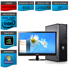 PROMO PC DELL 8GO 120SSD WINDOWS 7 PRO 64 bits Ecran 19