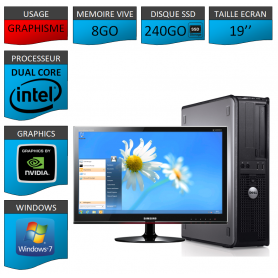PROMO PC DELL 8GO 240SSD WINDOWS 7 PRO 64 bits Ecran 19 HDMI