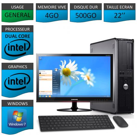 PC DELL OPTIPLEX 4GO 500GO WINDOWS 7 PRO 64 bits Ecran 22 CSF
