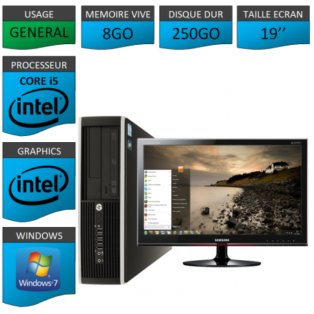 PC HP Elite Pro 8Go 250Go Ecran 19