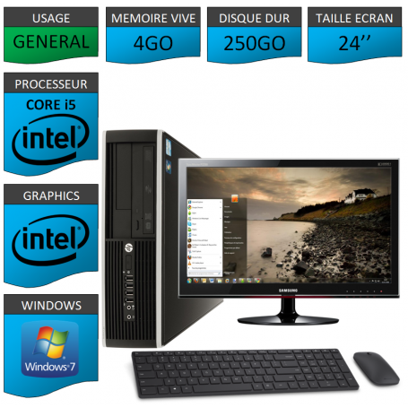 PC HP Core i5 4Go 250Go Windows 7 Pro Ecran 24 CSF