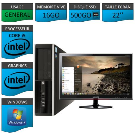 PC HP Core i5 16Go 500Go SSD Windows 7 Pro Ecran 22