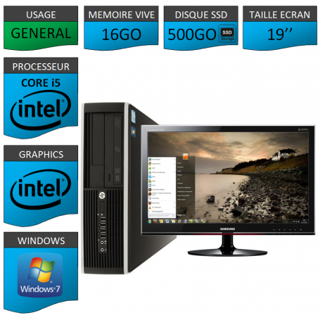 PC HP Core i5 16Go 500Go SSD Windows 7 Pro Ecran 19