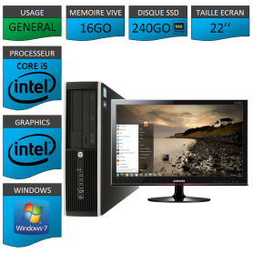 PC HP Core i5 16Go 240Go SSD Windows 7 Pro Ecran 22