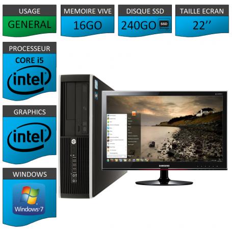 PC HP Core i5 16Go 240Go SSD Windows 7 Pro Ecran 22