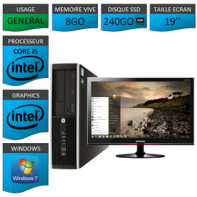 PC HP Core i5 8Go 240Go SSD Windows 7 Pro Ecran 19