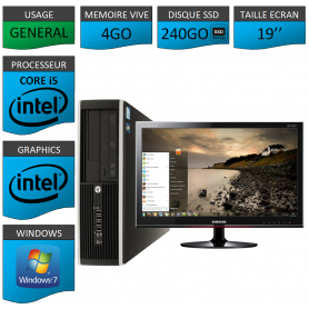PC HP Core i5 4Go 240 Go SSD Windows 7 Pro Ecran 19
