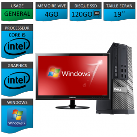 Dell 7010 Core i5 4Go 120SSD Windows 7 Pro Ecran 19