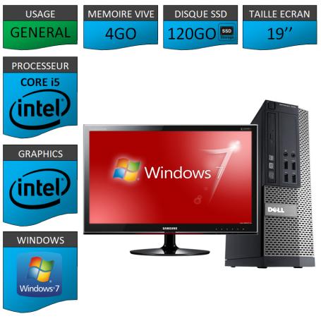 Dell 7010 Core i5 4Go 120SSD Windows 7 Pro Ecran 19